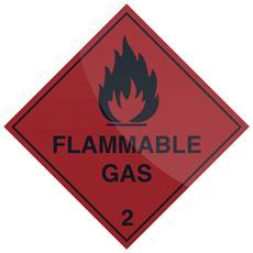 880753 Segnale ''gas Infiammabile'' (in Inglese) 100 X 100 Mm, Autoadesivo