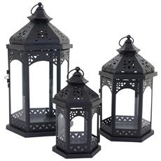 Set 3x Lanterne Decorative Hwc-b35 Stile Country Metallo E Vetro