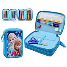Astuccio Frozen Anna Elsa Disney 3 Zip Scomparto Accessoriato Scuola Bambini