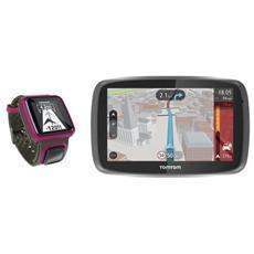 "Go 40 Display 4.3"" Touchscreen Memoria 8 GB Slot MicroSD Mappa Europa 45 paesi Mappe gratis a vita Autovelox Bluetooth + Orologio GPS Runner 40 Rosa"