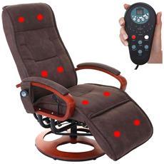 Poltrona Relax Arles Ii Massaggio Tessuto Altezza Regolabile 99-118cm Effetto Scamosciato