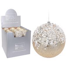 1 Pallina Di Natale 12.5cm Color Oro Lustrini Addobbi Decorazioni Albero