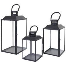 Set 3x Lanterne Decorative Hwc-b38 Stile Country Metallo E Vetro