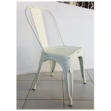 Sedia Stile Industry, Struttura In Metallo Zincato Colore Bianco
