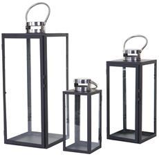 Set 3x Lanterne Decorative Hwc-b37 Stile Country Metallo E Vetro