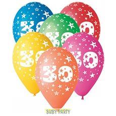 12 Palloncini In Lattice Colorati 30° Compleanno