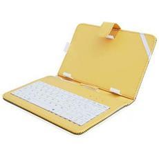 Custodia Universale Con Tastiera E Stand Orizzontale A Molle Per Tablet Da 7' Pollici Attacco Micro Usb E Mini Usb Colore Giallo
