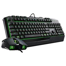 "Tastiera + Mouse Ottico Cooler Master """"d Evastator Ii"""" Gaming Nero / verde Backlight Usb 2.0 - Sgb-3032-kkmf1-it"