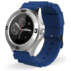 "TechWatchONE Round Display 1.22"" Bluetooth con cinturino in Gomma Blu per iOS e Android"