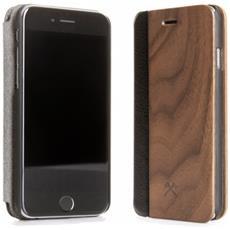 Flip Cover Custodia in Legno e Pelle per iPhone 5 / 5S Colore Noce e Nero