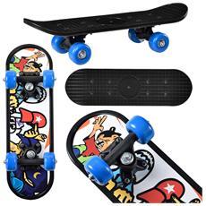 Skateboard Mini (44 X 13 X 10 Cm) (abec 7 - Cuscinetti A Sfera) (3 Motivi) Tavola Completa / Tavola Vintage / (motivo A - Hippster)