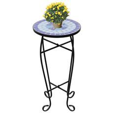 Tavolino Piante Modello Mosaico Blu E Bianco