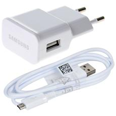 Caricatore Alimentatore Rete + Cavo Originale Samsung Eta-u90e Micro Usb Bianco 2,0a