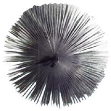 Scovolo tondo in acciaio con anello pulizia camino diametro 250 mm
