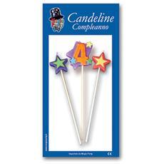 Candeline Numero 4 Multicolore