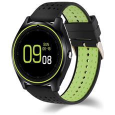 Smartwatch V9 Slot Scheda Sim E Bluetooth Fotocamera Orologio Telefono Pedometro Nero