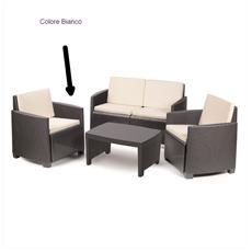 Set Da Giardino 1 Divano 2 Sedie 1 Tavolino Con Cuscini Bianco   Modello  Lipari