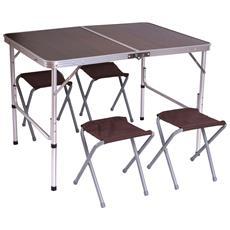 Tavolino Da Campeggio Pieghevole Con 4x Sedie T368 Alluminio Mdf 70x100x67cm