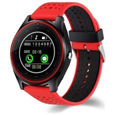 Smartwatch V9 Slot Scheda Sim E Bluetooth Fotocamera Orologio Telefono Pedometro Rosso