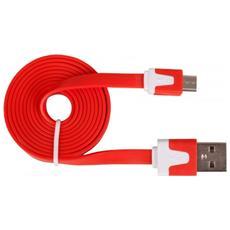 USB - USB Micro B 1m M / M, USB A, Micro-USB B, Maschio / maschio, Dritto, Dritto, Rosso