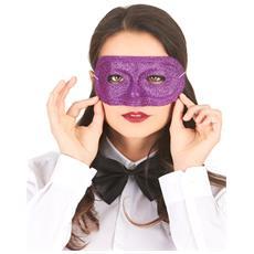 Maschera Di Plastica Con Brillantini Viola Adulto Taglia Unica