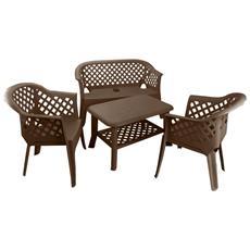Set da Giardino con Tavolino 2 Sedie e 1 Panchina Moka