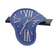 Orologio da tavolo ''Orologio mensola'' in resina decorata a mano Meccanismo al quarzo tedesco UTS Dimensione cm 30x28x16 Colore blu opaco