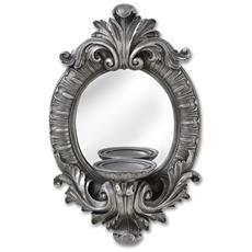 Porta Candela Da Parete Con Specchio Effetto Anticato (57 X 37,3 X 39 Cm) (argento)