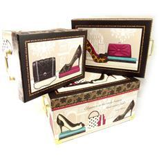 set di 3 keepsake boxes 'belle epoque' marrone beige - [ k6176]