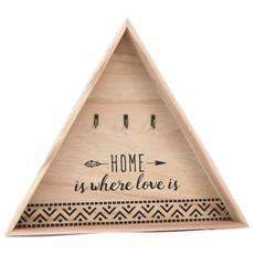 Portachiavi A Forma Di Triangolo 'messages' In Legno (la Casa e Dove Si Trova L'amore - 3 Ganci) - 35x31 Cm - [ p5260]