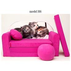 Divanetto Transformabile In Lettino Rosa Kittens H6