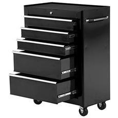 HOMCOM - Carrello porta utensili attrezzi attrezzatura con cassettiera nero  61.5 x 33 x 85cm 9e4681dbc1b2