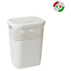 Cesto portabiancheria bianco cesta da bagno 42x33x58 cm per interno