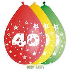 10 Palloncini In Lattice Colorati 40 Compleanno