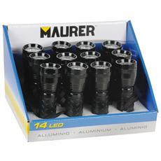 Torcia a Batteria in Alluminio Soft-Touch 14 Led Maurer Confezione 12 Pezzi
