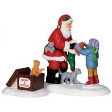Babbo Natale Con Bimbi - Santa And Kittens, Set Da 2