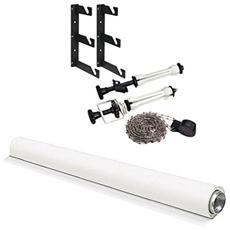 Fondale In Vinile - Bianco 2.75x6m + Set Supporto Fondale A Muro (supporti Ed Espansori E Catena In Metallo)