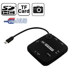 Sd And Microsd Card Reader 3 Usb For Microusb Otg Device - Nero
