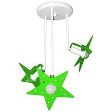 Plafoniera Sospensione Lampadario Verde Mela Camerette Bambini Modello Stella Completo Di Lampade Led