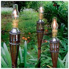 Torcia di bamboo per giardino Cm 100 h fiaccola per esterno antivento 10 Pz