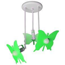 Plafoniera Sospensione Lampadario Verde Mela Modello Farfalla Camerette Bambini Completo Di Lampade Led