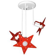 Plafoniera Sospensione Lampadario Rosso Camerette Bambini Modello Stella Completo Di Lampade Led