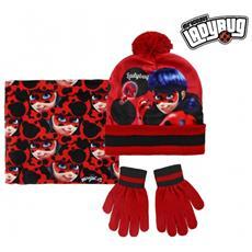 Completo 3 Pz Per Bambini Inverno Lady Bug 2200002541 Cappello Guanti E Pashmina
