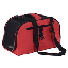 Trasportino borsa pieghevole per cani gatti e animali domestici 43 x 22 x 27cm rosso
