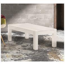 Tavolino Salotto Rettangolare In Abete Bianco Spazzolato