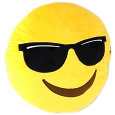 cuscino deco 'emoticone' gialli (occhiali scuri) - 40 cm - [ p0257]