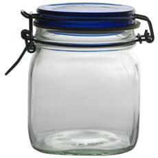 Set 6 Vasi Vetro Fido Tappo Ermetico Blu Cc 750 Contenitori Alimenti