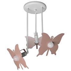 Plafoniera Sospensione Lampadario Rosa Modello Farfalla Camerette Bambini Completo Di Lampade Led