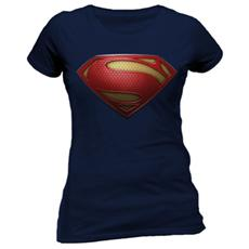 Superman Man Of Steel - Textured Logo (T-Shirt Donna Tg. S)