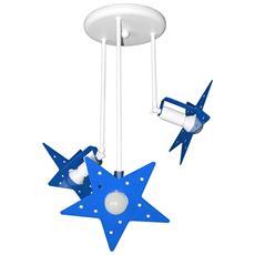 Plafoniera Sospensione Lampadario Azzurro Camerette Bambini Modello Stella Completo Di Lampade Led